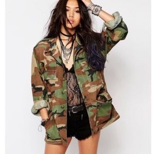 Military air force camo oversized utility jacket